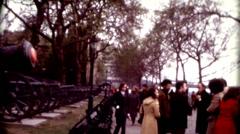 8mm old film London's Tower Castle People on sidewalk vintage fashion Stock Footage
