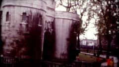 old film London's Tower Castle Canons travel destination vintage historic - stock footage