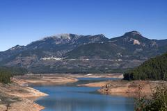 panoramic view of reservoir of tranco at half of its capacity, in the provinc - stock photo
