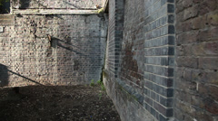 Brick wall corner in London background image - stock footage