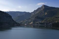 panoramic view of reservoir of tranco to 89 % of its capacity, in the provinc - stock photo