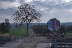 old signs of level crossing without barriers, spain - stock photo