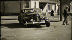 Police control trafic at the automobile accident, 663 vintage film home movie Stock Footage