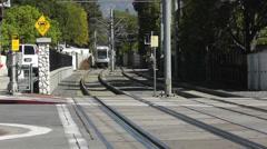 Gold Line Ansaldo Breda P2550 train in South Pasadena Stock Footage