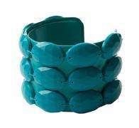 crystalline plastic beads green bangle - stock photo