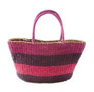 striped purple mauve basket tote - stock photo