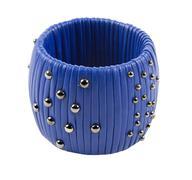 studded blue leather bracelet - stock photo