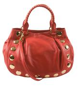 red leather studded purse - stock photo