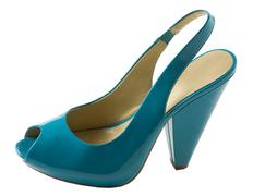 Stock Photo of turquoise patent leather peep toe