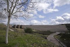 panoramic view of the dam of san rafael de navallana, near cordoba, andalusia - stock photo