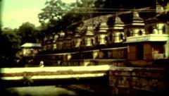 Indiana Nepal colcher Kathmandu religion symbols poverty vintage historic Stock Footage