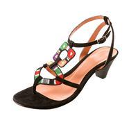 Ethnic knit heel sandal Stock Photos