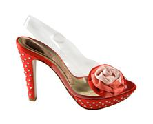 Red and transparent stilettos with strass and fabric red rose Stock Photos