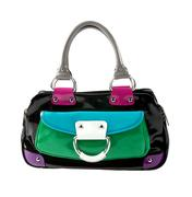Stock Photo of color block patent leather handbag