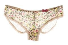 Pink bow flowery white lacework cute panties Stock Photos