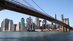 New York City Brooklyn Bridge and downtown building skyline Stock Footage