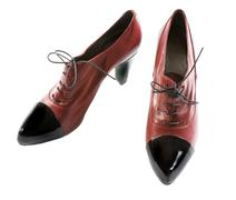 Stock Photo of black patent leather toe maroon lace-up pumps