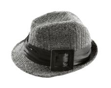 Grey knit wool fedora hat with broad hatband and leather buckle Stock Photos