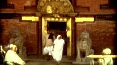 Indiana Nepal Kathmandu buildings city lifestyle religion vintage historic Stock Footage