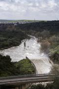 spillway in the reservoir of san rafael de navallana, near cordoba, andalusia - stock photo