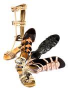 roman sandals still life fashion composition - stock photo