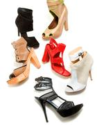 Peep toe booties stilettos fashion still life composition Stock Photos