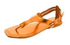 Orange metallized flip flop patent leather sandal isolated on white backgroun Stock Photos