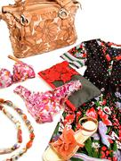 Flowery fashion composition still life Stock Photos