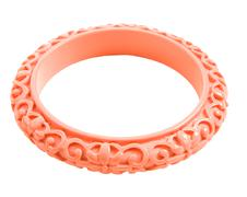Pink carved flowers bangle Stock Photos