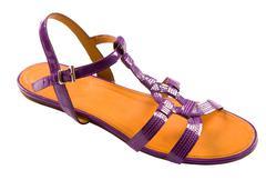 Purple patent leather flat sandal Stock Photos