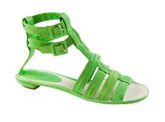 Lime green leather tall flat sandal Stock Photos