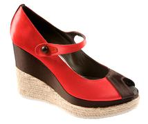 Bicolor raffia wedge peep toe Stock Photos
