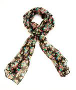 flowery black neckerchief - stock photo