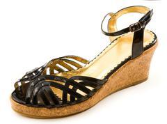 black patent leather cork wedged sandal - stock photo