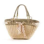 Polka dots vintage belt and leather basket tote Stock Photos
