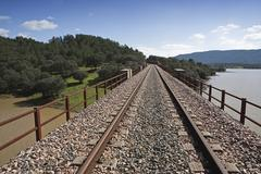 abandoned railway line from córdoba to almorchón, municipality of espiel - stock photo