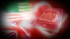 UK-USA Passport Background Stock Footage