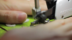 close up shot of sewing christmas advent calendar - stock footage