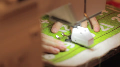 close up shot of sewing machine and advent calendar - stock footage