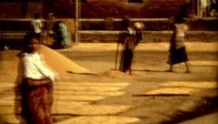 Culture Nepal colcher Kathmandu people work outdoors vintage historic old film Stock Footage