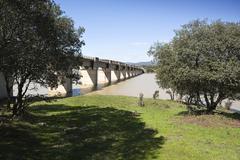 Railway line cordoba - almorchon, bridge of  las navas, municipality of espie Stock Photos