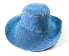denim floppy hat - stock photo