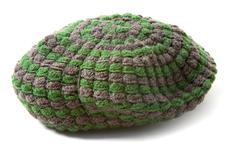 Green and grey knit beanie Stock Photos