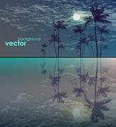 Palm tree landscape in moonlight Stock Illustration