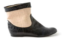 crocodile and raffia ankle boot - stock photo