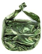 Green crackle iridescent metallized leather purse Stock Photos
