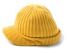 yellow knit cap beanie - stock photo