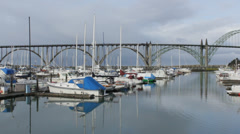 Bridge over Yaquina Bay and Newport Harbor Slow Pan Stock Footage