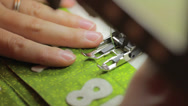 Stock Video Footage of a close up shot of sewing christmas advent calendar