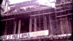 8mm old film save St. Paul's Appeal Exhibition Cathedral London Stock Footage